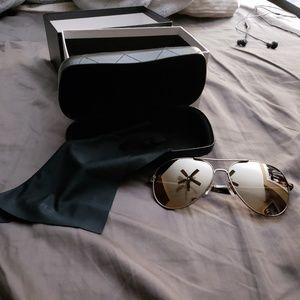 NWOT Chanel Mirrored Gun Metal Sunglasses